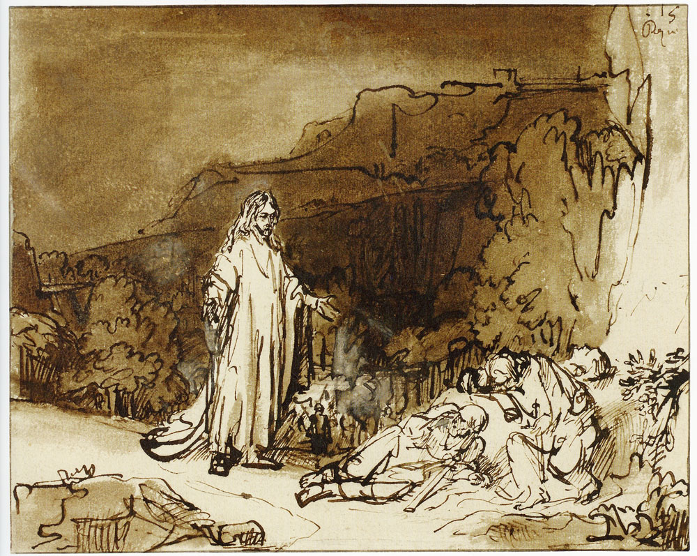Rembrandt - Christ Awakening the Apostles on the Mount of Olives