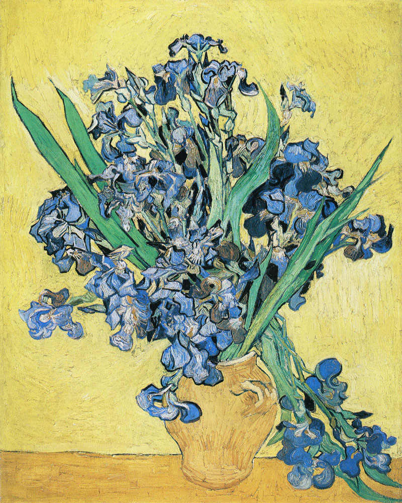 Vincent van Gogh - Vase with Violet Irises against a Yellow Background