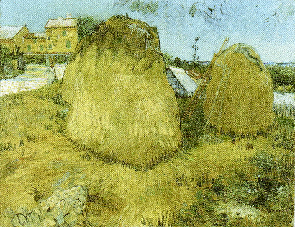 Vincent van Gogh - Haystacks near a Farm