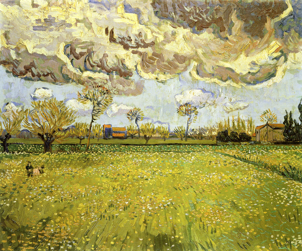 Vincent van Gogh - Meadow with Flowers under a Stormy Sky