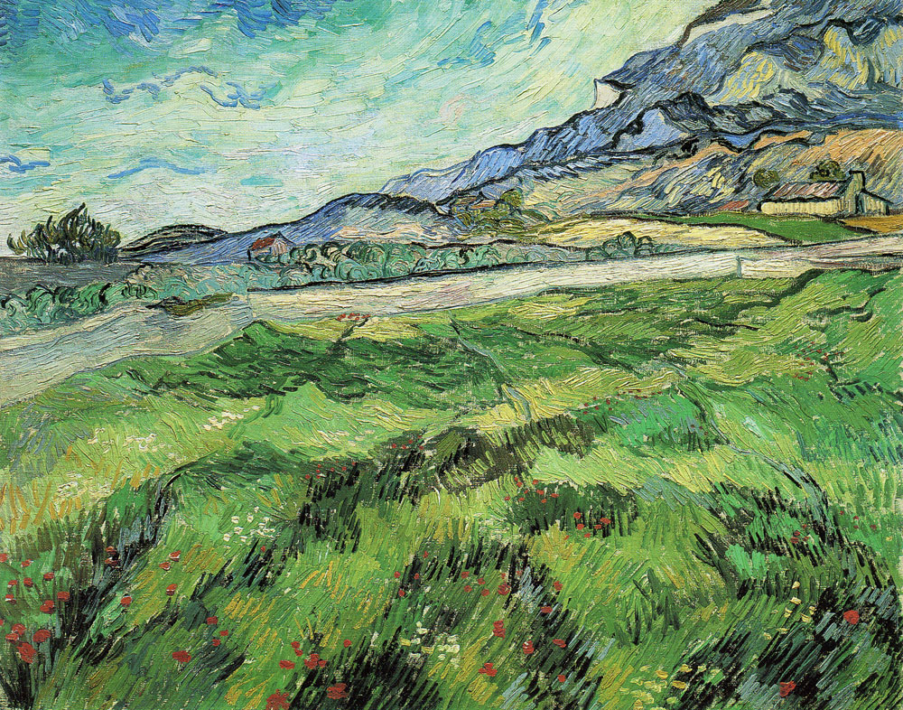 Vincent van Gogh - Mountain Landscape Seen Across the Walls, Green Field