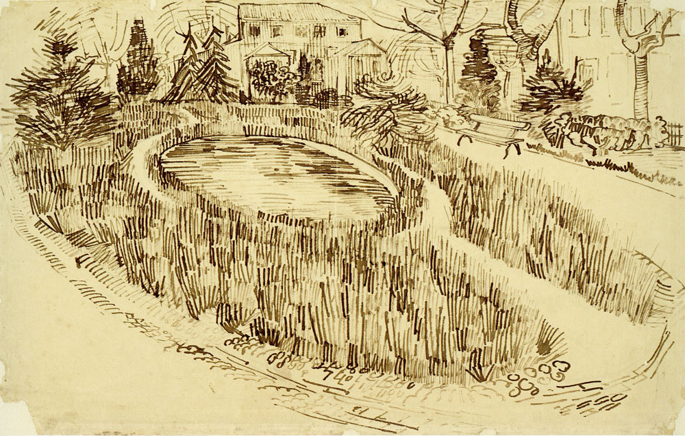 Vincent van Gogh - Public Garden with Vincent's House in the Background