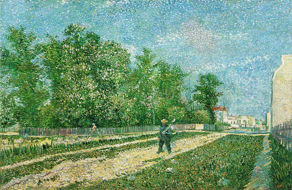 Vincent van Gogh - A Suburb of Paris with a Man Carrying a Spade