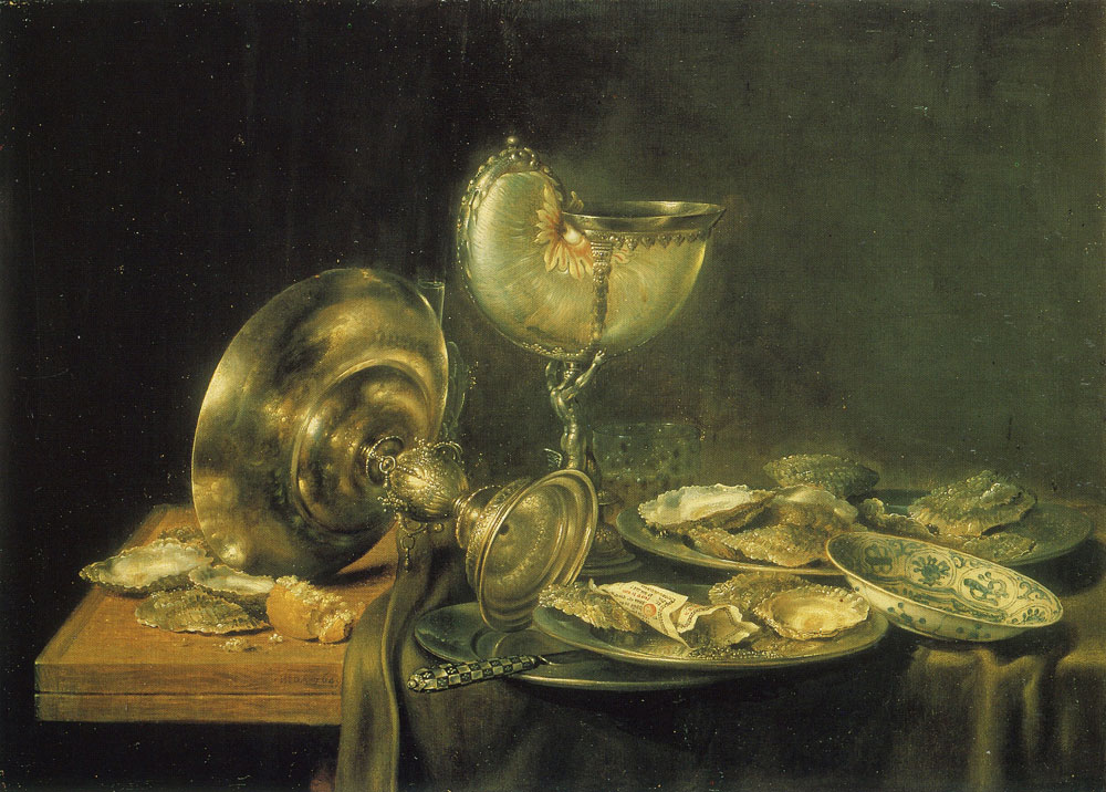 Willem Heda - Nautilus Cup, Tazza, and Plates of Oysters