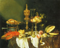 Abraham van Beijeren - Still Life with a Lobster and Turkey