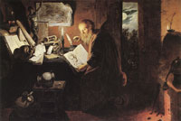 David Rijckaert III An Alchemist Studying at Night