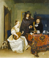 Gerard ter Borch Young Woman playing a Theorbo to Two Men
