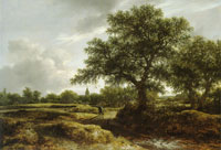 Jacob van Ruisdael Landscape with a Village in the Distance