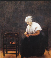 Jacobus Vrel A Woman Darning a Stocking