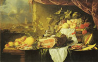 Jan Davidsz. de Heem Fruit and Ham on a Table with a View of a City