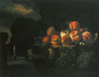 Nicoales Maes Still Life of Fruit in a Formal Garden