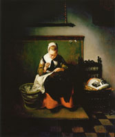 Nicolaes Maes A Young Woman Sewing