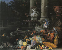 Peeter Gijsels Fruit, Animals, and Flowers near a Fountain