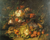 Rachel Ruysch Fruit and Flowers in a Forest