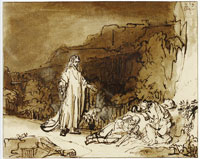 Rembrandt Christ Awakening the Apostles on the Mount of Olives
