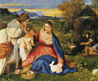Titian Virgin and Child with Saint Catherine of Alexandria and a Rabbit
