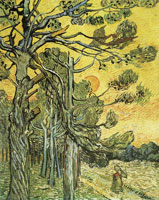 Vincent van Gogh Storm-beaten Pine Trees against the Setting Sun