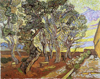 Vincent van Gogh A Corner of the Asylum and the Garden with a Heavy, Sawn-Off Tree