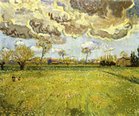 Vincent van Gogh Meadow with Flowers under a Stormy Sky