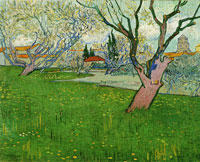 Vincent van Gogh Orchard in Bloom with View of Arles