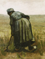 Vincent van Gogh Peasant Woman, Digging, Seen from the Back