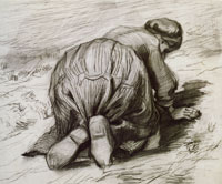 Vincent van Gogh Peasant Woman, Kneeling, Seen from the Back