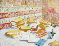 Vincent van Gogh Piles of French Novels and a Glass with a Rose (Romans Parisiens)