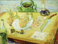Vincent van Gogh Plate with Onions, Annuaire de la Santé, and Other Objects