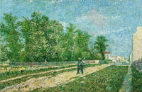 Vincent van Gogh A Suburb of Paris with a Man Carrying a Spade