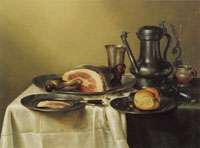 Willem Heda Laid Table with Ham and a Roll