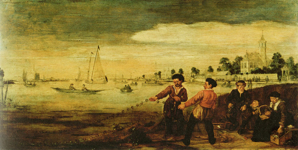 Arent Arentsz. - Fishermen on the Bank of the Amstel