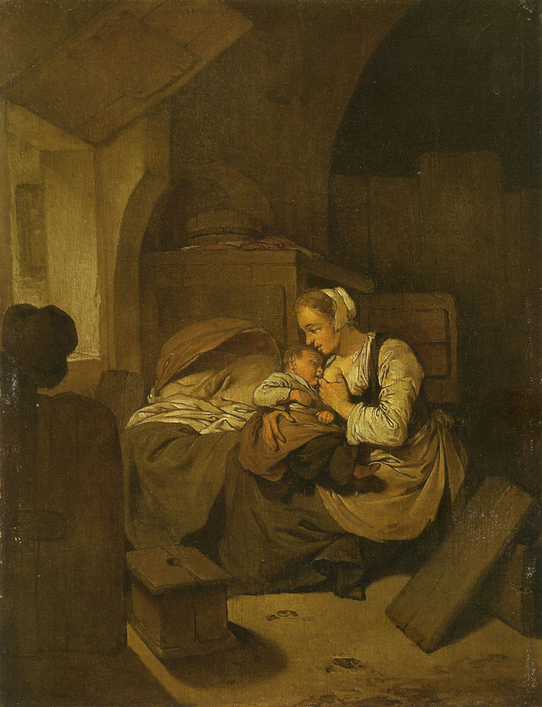Cornelis Bega - Interior with a mother nursing her child
