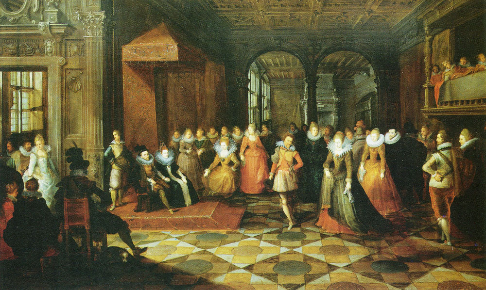 Frans Francken the Younger and studio and Paul Vredeman de Vries and unknown miniaturist - Ball at a Brussels court