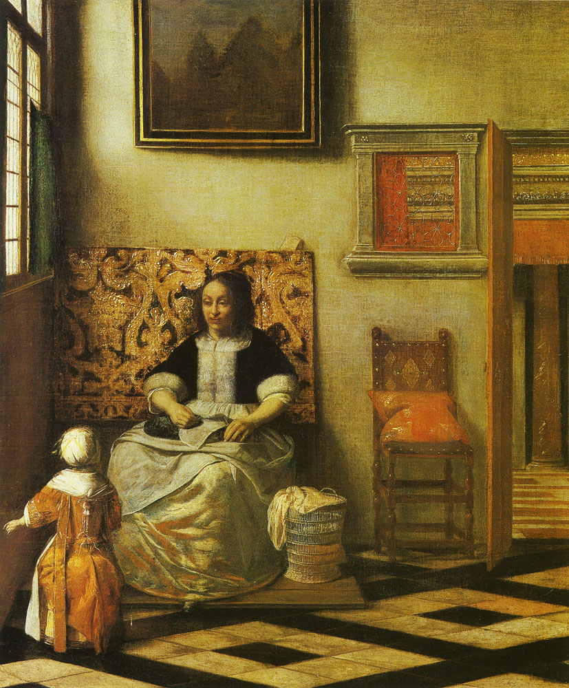 Pieter de Hooch - Woman with needlework and a child