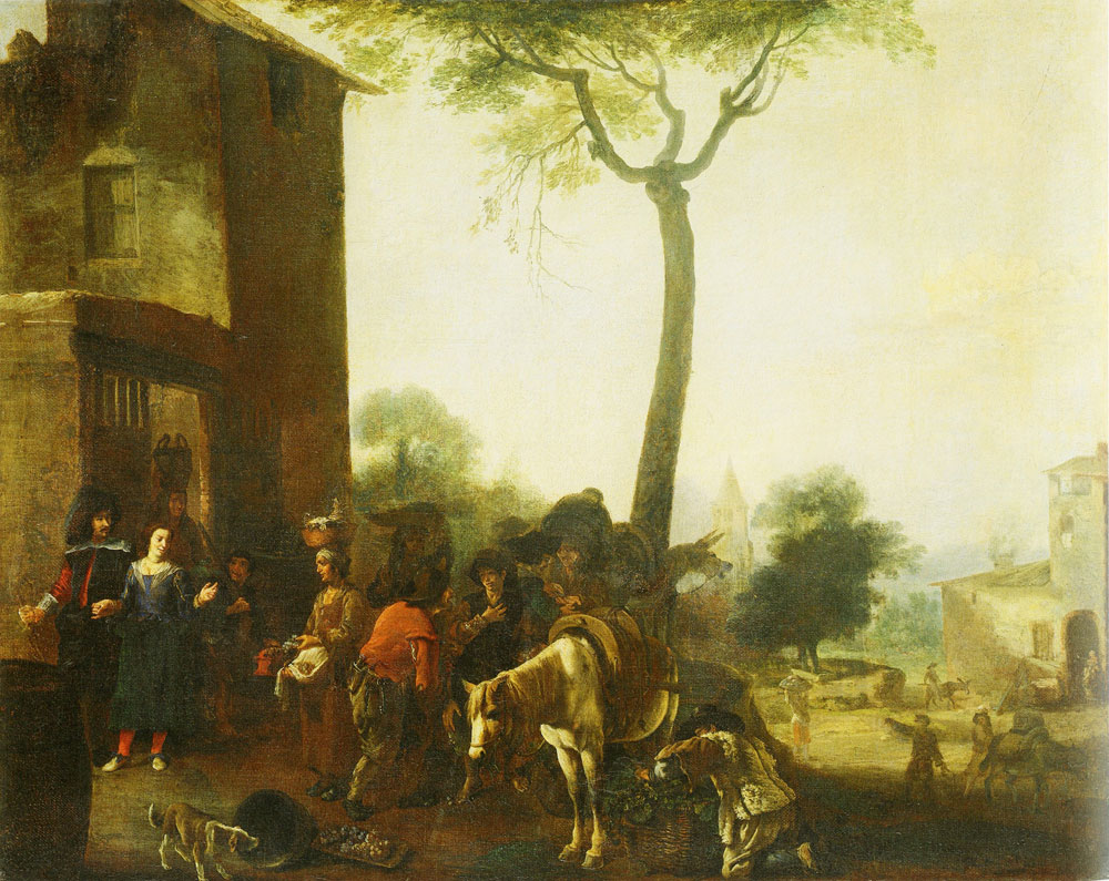 Manner of Pieter van Laer - Harvesting the Vines