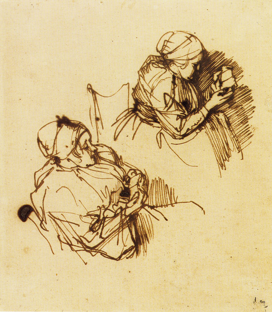 Rembrandt - Two Studies of a Woman Reading