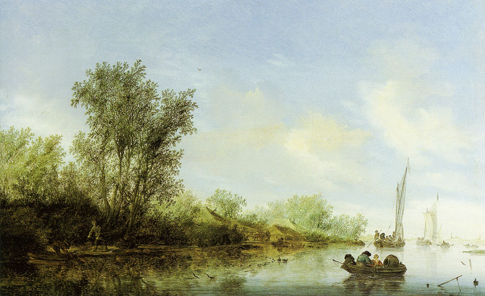 Salomon van Ruysdael - River landscape with fishermen
