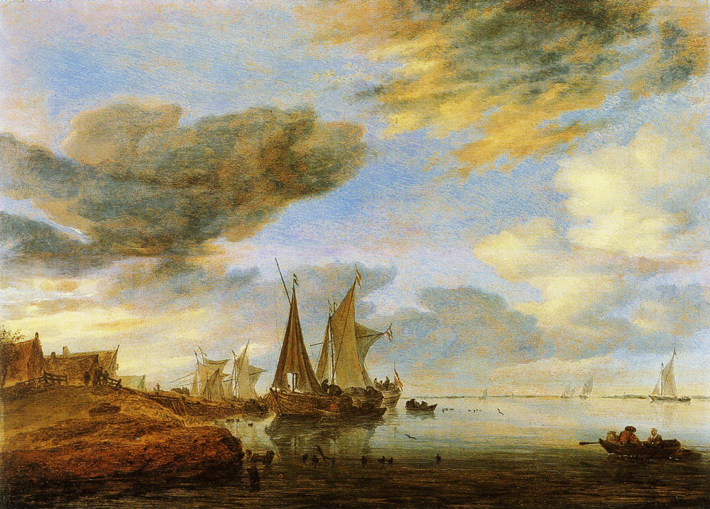 Salomon van Ruysdael - Sailing vessels moored near a village