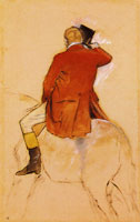 Edgar Degas Rider in a Red Coat Viewed from Behind