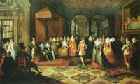 Frans Francken the Younger and studio and Paul Vredeman de Vries and unknown miniaturist Ball at a Brussels court