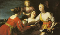 Gerard van Honthorst Diana Resting with Shepherdess and Two Greyhounds