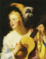 Gerard van Honthorst Woman Playing a Guitar