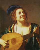 Gerard van Honthorst Woman Tuning a Lute