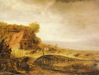 Attributed to Govert Flinck - Landscape with a farm and a bridge