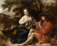 Govert Flinck Shepherdess with Floral Wreath and Flute Player