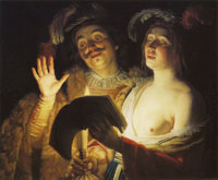 Gerard van Honthorst Cavalier and Woman Singing by Candlelight
