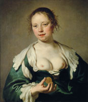 Jacob Adriaensz. Backer Half naked woman with a coin