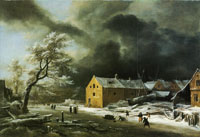 Jacob van Ruisdael Canal with commercial buildings in winter