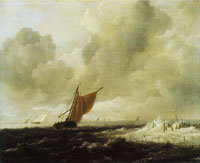 Jacob van Ruisdael Rough sea with sailing vessels