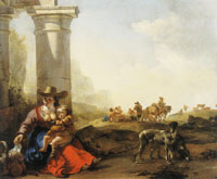Jan Baptist Weenix Italian Peasants among Ruins